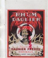 33- BORDEAUX- ETIQUETTE RHUM DAUBIER FRERES- FRENCH WEST INDIES RUM - Rhum
