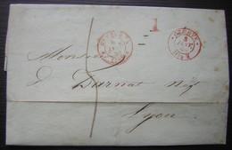 1849 Marque D'entrée De Genève Sur Une Lettre Pour Lyon (cachet Rouge, Voir Photo) - Postmark Collection (Covers)
