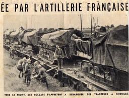 MILITARIA - Coupure De Journal -  Vers Le Front, Débarquement De Tracteurs à Chenille - Véhicules