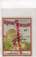 33- BORDEAUX- ETIQUETTE RHUM SAMSON - J. LAROUSSE - LITHO WETTERWALD - Rhum