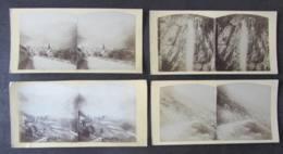 Vallée De LAUTERBRUNNEN Vers 1860 - 1870 : 4 Photos Stéréoscopiques. Photo Stéréoscopique. 9 Scans. - Photos Stéréoscopiques