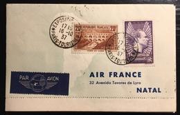 FRANCE Lettre Dite Par Avion Autour Du Monde : Mixte France ( Pont Du Gard & Mermoz ), Brésil, USA, Hong Kong...TTB - Storia Postale