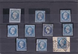 N° 14 En 10 Exemplaires - Cachets Interressants. - 1853-1860 Napoleon III