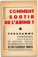 COMMENT  SORTIR  DE  L' ABIME ?  - Programme Du Parti Communiste Français - Livres, BD, Revues