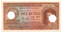 INDE PORTUGAISE 10 ROUPIES 1945 - Indien