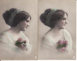 Belle Femme, Portrait, 3 Cartes, Même Série,1911,dos Scanné - Femmes