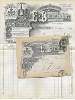 """1895 - ENVELOPPE PUB DECOREE De La DISTILLERIE """"BARBIN"""" à CLERMONT-FERRAND - ALCOOL - Marcofilie (Brieven)"""