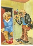 BIG 21x15cm Postcard SWEDEN Nordahl TROLLS Humor Caricature Gratulation ILLUSTRATION Signed By ALVAR HARD - Unclassified