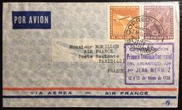 """CHILI Poste Aérienne N°43,45 """" Primera Traversia Commercial Del Atlantico Sur"""" Pour Paris Par Jean Mermoz 12 13 May 1930 - Chile"""