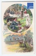 Rare Chromo Chocolat Suchard Neuchatel Suisse Déjeuner Pique-nique Vin Faisan Poule Bourgeois Barque Promenade A6-24 - Suchard