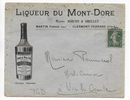 """1907 - ENVELOPPE PUB DECOREE De La DISTILLERIE """"MARTIN"""" à CLERMONT-FERRAND - ALCOOL - Marcofilie (Brieven)"""