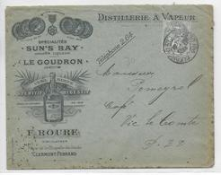 """1906 - ENVELOPPE PUB DECOREE De La DISTILLERIE """"ROURE"""" à CLERMONT-FERRAND - ALCOOL - Marcofilie (Brieven)"""