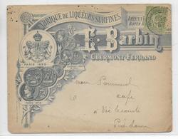 """1901 - ENVELOPPE PUB DECOREE De La DISTILLERIE """"BARBIN"""" à CLERMONT-FERRAND - ALCOOL - Marcofilie (Brieven)"""