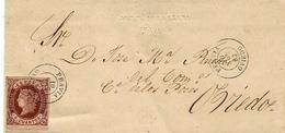 1863 - Lettre De PRAVIA ( Oviedo ) Affr. 4 Cuartos   Pour Oviedo - 1850-68 Royaume: Isabelle II