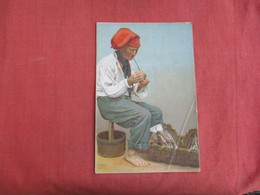 Man Smoking A Pipe   Bottom Right Corner Crease  Ref 3100 - Ethnics