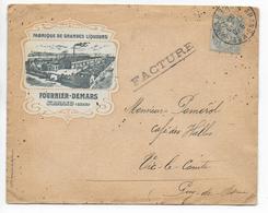 """1906 - ENVELOPPE PUB DECOREE De La DISTILLERIE """"FOURNIER-DEMARS"""" à ST AMAND (CHER) - ALCOOL - Marcofilie (Brieven)"""