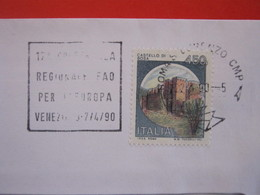 T1 ITALIA TARGHETTA - 1990 ROMA S. LORENZO 17^ CONFERENZA REGIONALE FAO PER EUROPA A VENEZIA ALIMENTAZIONE CIBO DESIGN - Ernährung