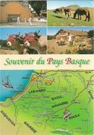 Cartes Géographiques - Souvenir Du Pays Basque - 4 Vues - 1 Timbre Philatélique Au Verso- Voir Scan - Cpm - écrite - - Cartes Géographiques