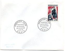 PARIS 1965 = CACHET PREMIER JOUR + N° 1461 = TRICENTENAIRE PEUPLEMENT ILE BOURBON - FDC