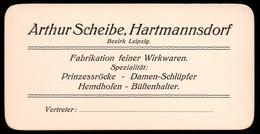 2401 - TOP - Arthur Scheibe Hartmannsdorf - Visitenkarte - Wirkwaren Schlüpfer Büstenhalter Röcke - Visitenkarten
