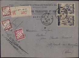 Formule 819  PTT Maroc Protectorat Français Recommandé Rabat R 307 CAD Rabat RP Maroc 10 2 42 YT 189 + Taxes - Marocco (1891-1956)