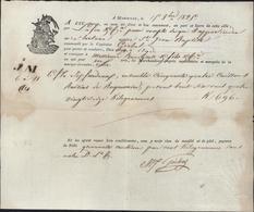 Connaissement Marseille 15 Oct 1825 Par Lafon SS Tartane St Jean Baptiste Capitaine Gerbal Pour Agde Bateau Raisin - Transport