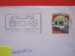 T1 ITALIA TARGHETTA - 1989 BASSANO DEL GRAPPA VICENZA 10 ANNI GEMELLAGGIO CON MUHLACKER STEMMI ARALDICA - Culture