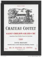 Etiquette De Vin -   Chateau Coutet  -  Saint Emilion Grand Cru Controlée  -  1991 - Bordeaux