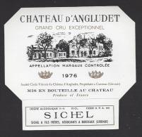 Etiquette De Vin Margaux 1976  -  Cru Bourgeois Supérieur   -  Chateau D'Angludet  -  Sté à Cantenac  (33) - Bordeaux