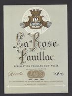 Etiquette De Vin Bordeaux Pauillac 1969 - La Rose  Pauillac -  à Pauillac  (33) - Bordeaux