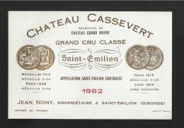 Etiquette De Vin - Chateau Cassevert (Sélection Chateau Grand Maine) - Saint Emilion Grand Cru Classé - 1962 - Bordeaux