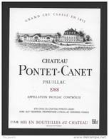 Etiquette De Vin  -  Chateau Pontet Canet  -  Pauillac  -  1988  -  Grand Cru Classé  -  150 Cl  -  12.5 X 16.5 Cm - Bordeaux