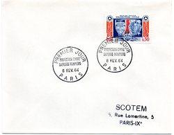 PARIS 1964 = CACHET PREMIER JOUR + N° 1404 = PROTECTION CIVILE / SAPEURS POMPIERS - FDC