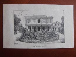 Réunion : Document De 1887 Par Hue Et Hauricot « Type De Maison Coloniale ». - Documents Historiques