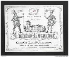 Etiquette De Vin  -  Chateau Lagrange   -  Saint Julien  3 ème Grand Cru Classé -  1975 - Bordeaux