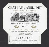 Etiquette De Vin Margaux 1970  -  Cru Bourgeois Supérieur   -  Chateau D'Angludet  -  Sté à Cantenac  (33) - Bordeaux