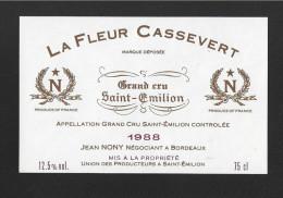 Etiquette De Vin -   La Fleur Cassevert  -  Saint Emilion Grand Cru Controlée  -  1988 - Bordeaux
