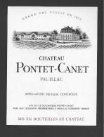 Etiquette De Vin  -  Chateau Pontet Canet  -  Pauillac  -  ND 80/90  -  Grand Cru Classé - Bordeaux