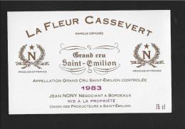 Etiquette De Vin -   La Fleur Cassevert  -  Saint Emilion Grand Cru Controlée  -  1983 - Bordeaux