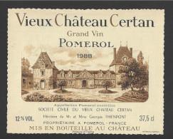 Etiquette De Vin  - Vieux  Chateau Certan   -   Pomerol  -  1988 - Bordeaux