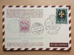 AUSTRIA 1957 Postcard - Scout - Pfadfinder Jubilaumsjahr - Hollabrunn - Mit Ballonpost - 1945-.... 2ème République