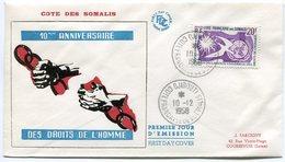 RC 10708 COTE DES SOMALIS 1958 - DECLARATION DES DROITS DE L'HOMME FDC 1er JOUR TB - Lettres & Documents