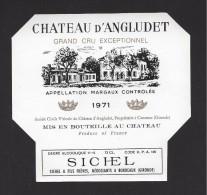 Etiquette De Vin   -  Chateau D'Angludet  -  Cru Bourgeois Supérieur   Margaux   - 1971 - Bordeaux