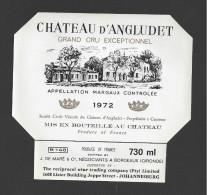 Etiquette De Vin  -   Chateau D'Angludet  -  Margaux -  1972  -  Cru Bourgeois Supérieur  -  730 Ml  -  12 X 11.2 Cm - Bordeaux