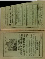 Calendrier équipe Section Paloise 1950/1951 Brasserie Des Sports PAU Lassus Propriétaire - Rugby