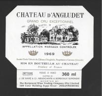 Etiquette De Vin  -   Chateau D'Angludet  -  Margaux -  1969  -  Cru Bourgeois Supérieur  -  360 Ml  -  12 X 11.2 Cm - Bordeaux