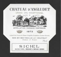 Etiquette De Vin  -   Chateau D'Angludet  -  Margaux -  1973  -  Cru Bourgeois Supérieur  -  73 Cl  -  12 X 11.2 Cm - Bordeaux