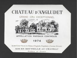 Etiquette De Vin  -   Chateau D'Angludet  -  Margaux -  1974  -  Cru Bourgeois Supérieur - Bordeaux