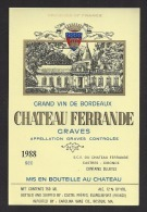 Etiquette De Vin Graves 1988   -   Chateau Ferrande  -  SCE  à  Castres  (33) - Bordeaux