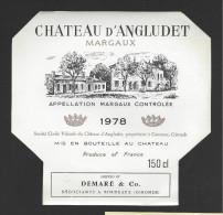 Etiquette De Vin  -   Chateau D'Angludet  -  Margaux -  1978  -  Cru Bourgeois Supérieur  -  150 Cl  -  14.1 X 13.7 Cm - Bordeaux